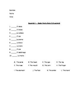 Body Parts Matching Quiz - follows Realidades PE vocab