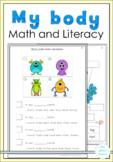 My body  parts math and literacy worksheets