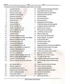 Body Parts Sentence Match Spanish Worksheet