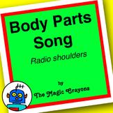 English Body Parts Song 1 for ESL, EFL, Kindergarten. Head, body, bum, eyes