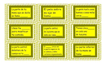 Body Parts Spanish Card Game