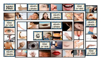 Body Parts Spanish Legal Size Photo Board Game