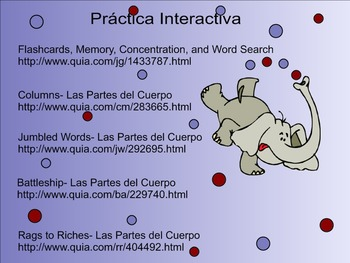 Body Parts Spanish SMART Board Lesson