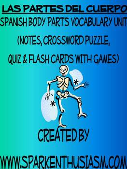 Body Parts Vocabulary, Activities, Crossword, Games, & Quiz Unit