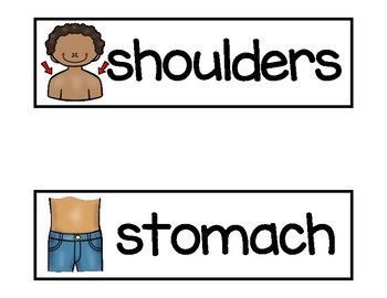 Body Parts Vocabulary Word Cards