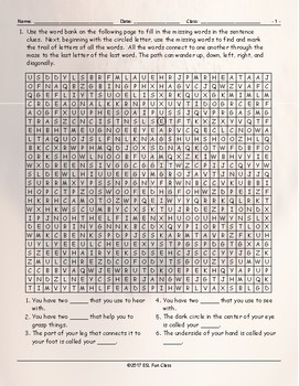 Body Parts Word Maze