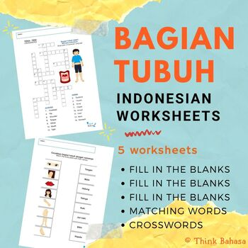 Body Parts in Indonesian (Worksheets & Answer Keys) | Bagian Badan