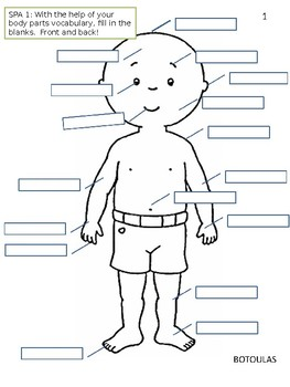 Body Parts in Spanish Worksheet by Botoulas Academy of Spanish | TpT