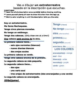 Body Parts in Spanish (partes del cuerpo) - Draw alien lis
