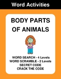 Body Parts of Animal - Word Search, Word Scramble,  Secret Code,  Crack the Code