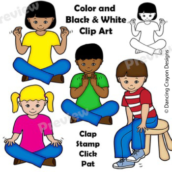 Body Percussion Clip Art | Kids clapping, tapping, clicking and stamping