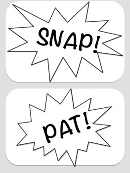 Body Percussion Cards - Comic Black and White