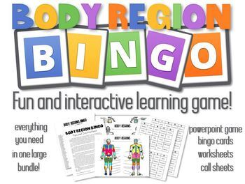 Body Region Bingo- PowerPoint Game, Bingo Card, Call Sheets and Worksheets!
