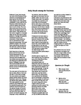 Body Rituals Among the Nacirema: Activity for Exploration unit