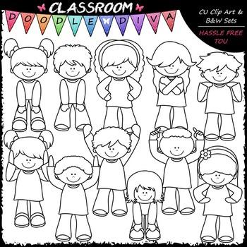 Body Signs Clip Art - Actions Kids Clip Art - Movement Clip Art & B&W Set