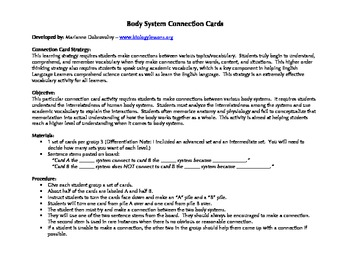 Body System Connection Cards - A Highly Effective Vocabulary Strategy