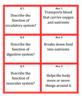 Body System Fan and Pick Cards with Answers (Kagan's Structure) Science