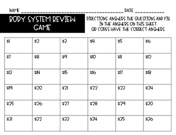 Body System Task Cards/Review Game