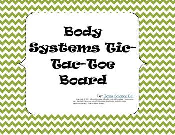 Body System Tic-Tac-Toe Board