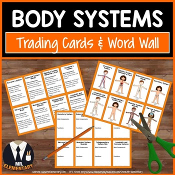 Body Systems Vocabulary Trading Cards and Activities