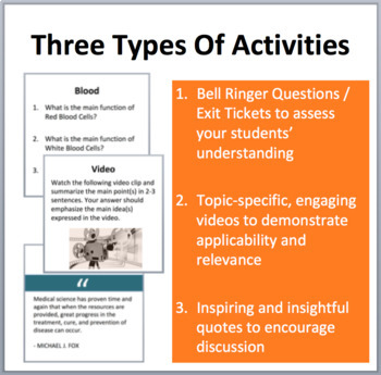 Body Systems - Bell Ringers, Class Warm-Ups, and Exit Tickets