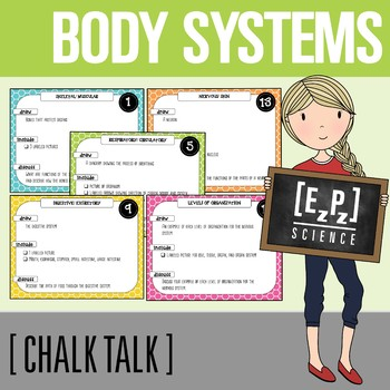 Body Systems Chalk Talk Task Cards