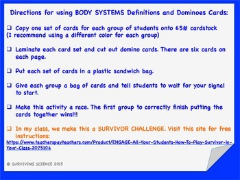 Body Systems Definitions and Dominoes Card Game