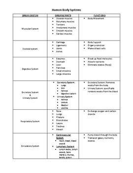 Body Systems Organizer
