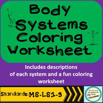 Body Systems Printable Coloring Worksheet Activity