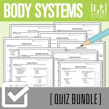 Body Systems Science Quiz Bundle