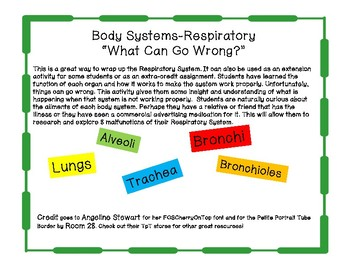 """Body Systems-Respiratory """"What Can Go Wrong?"""""""