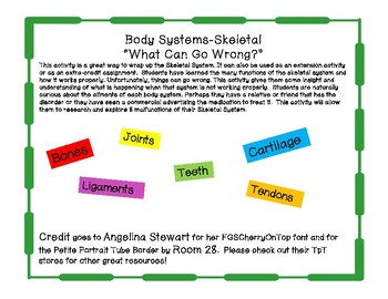 "Body Systems-Skeletal ""What Can Go Wrong?"""
