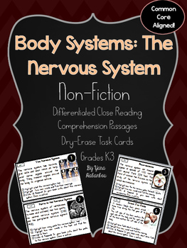 The Nervous System Reading Comprehension Task Cards