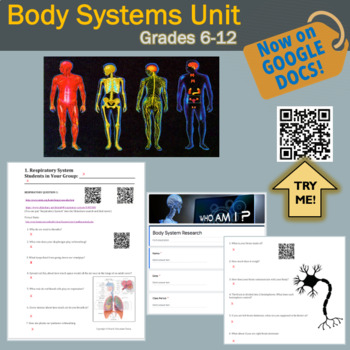 Human Body Systems Distance Learning: Google Slides of Worksheets + 84 QR Codes