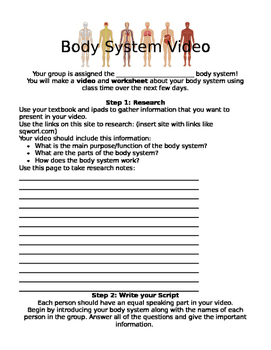Body Systems Videos Research iPad EDITABLE