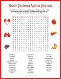 HUMAN BODY SYSTEMS Word Search Puzzle Worksheet Activity