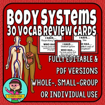 Body Systems Vocabulary Review Cards