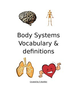 Body Systems Vocabulary and Assessment Worksheet