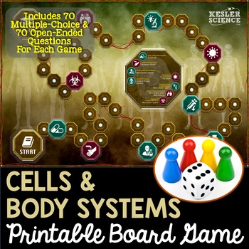 Body Systems and Cells Themed Board Game - Pre-Written & Editable Cards