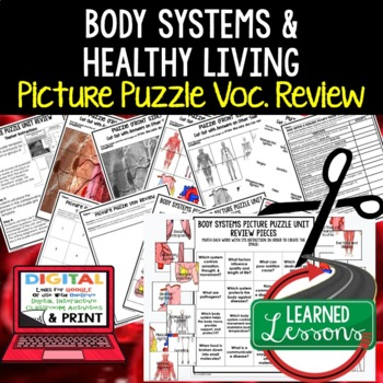 Body Systems and Healthy Living Picture Puzzle Study Guide Test Prep