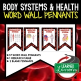 Body Systems and Healthy Living Word Wall 37 Pennants (Lif