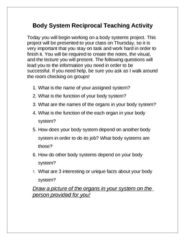 Body Systens Reciprocal Teaching Activity