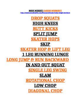 Body Weight Cardio Exercises