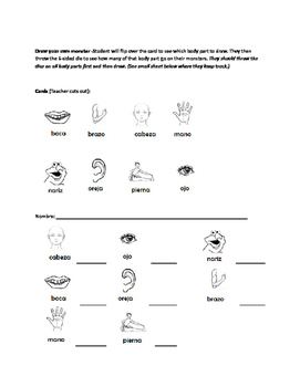 Body parts - Spanish/ El cuerpo en espanol