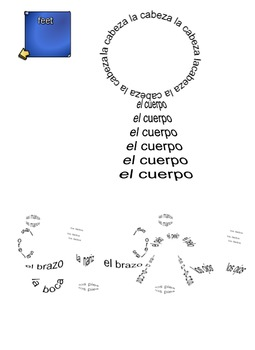 Spanish Body parts vocabulary SmartBoard  - Body parts made of words