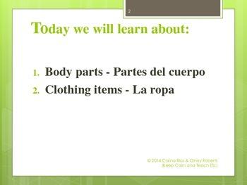Body parts - clothing - ESL Lesson - Esl game