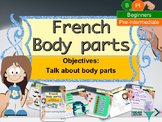 Body parts in French, les parties du corps interactive activities and printables