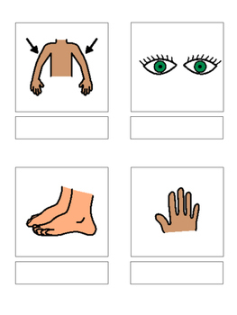 Body parts - matching book, flash cards and more!!