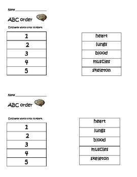Body-themed ABC order