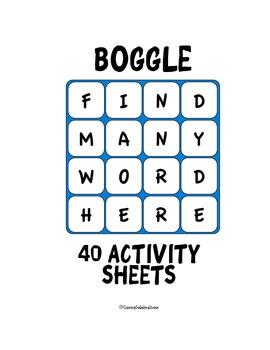 Boggle Activity Sheets